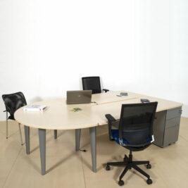 ensemble-de-2-bureaux-bench-aluminium-erable-avec-convivialite-caisson-porteur